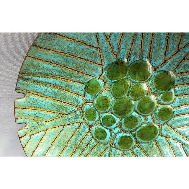 Large vintage enamel on copper Mid Century Modern turquoise , green and gold ashtray. I have seen many enamel bowls and...