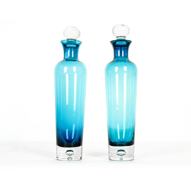 1950s Mid Century Modern Turquoise Crystal Decanters - a Pair For Sale - Image 5 of 5
