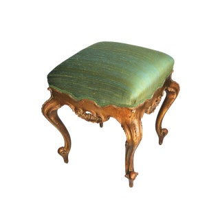 "French Foot Stool Louis XV Style W/Silk Pair 19.5""h by 18"" For Sale"