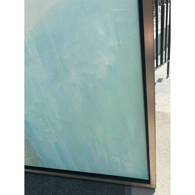 Original Abstract Oil on Canvas in Floating Silver Gilt Frame For Sale - Image 4 of 12