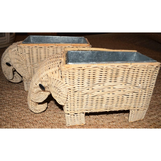 Tan Boho Chic Wicker Elephant Basket Planters - a Pair For Sale - Image 8 of 12