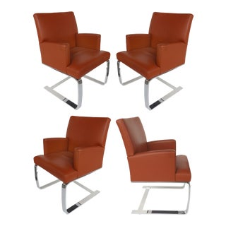 De Sede of Switzerland Cantilevered Leather & Stainless Chairs-Set of 4 For Sale
