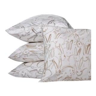Hunt Slonem Rabbit Run Sheet Set, King/Silver For Sale
