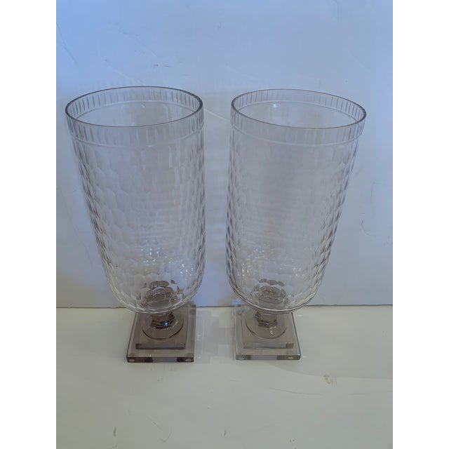 Cylindrical Cut Glass Hurricanes Candle Holders -A Pair For Sale - Image 10 of 10