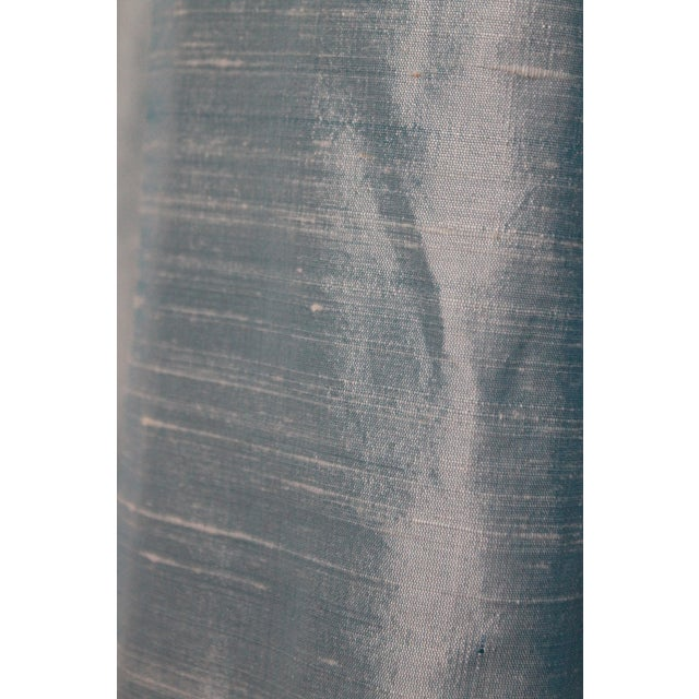 2020s Beacon Hill/Robert Allen Chambray Blue 100% Silk Drapes - 8 Panels For Sale - Image 5 of 8