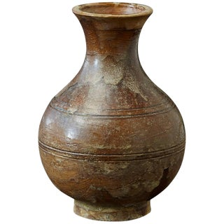 Antique Italian Terra Cotta Vase With Bottle Shape and Brown Glaze For Sale