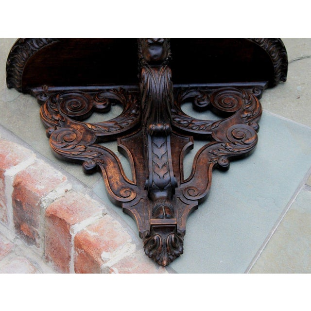 Antique French Oak 19th Century Large Gothic Figural Hand Carved Wall Shelf Corbel Bracket For Sale - Image 11 of 13
