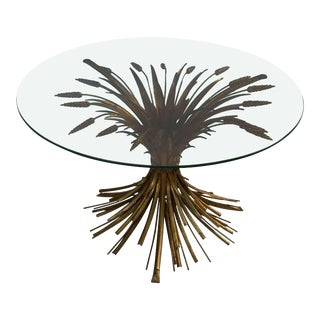 Italian Wheat Sheaf Low Table of Gilt Metal For Sale