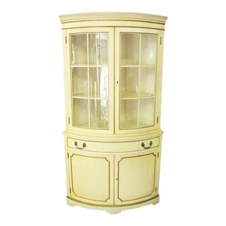 French Country Corner Cabinet With Curved Glass Front For Sale