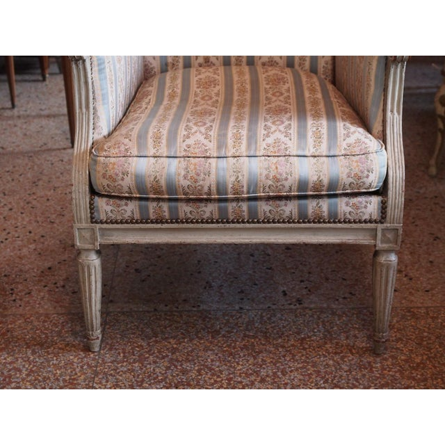 Gold Louis XVI French Painted Bergere For Sale - Image 8 of 8
