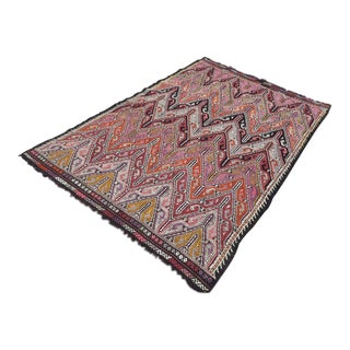 "Vintage Anatolian Embroidered Kilim Rug-5'2'x7'9"" For Sale"