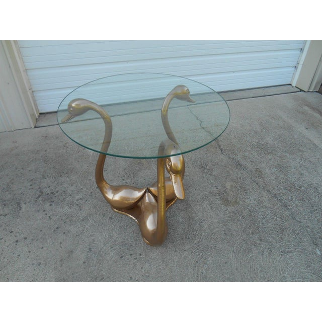 Hollywood Regency Brass Swan Side Table - Image 4 of 5