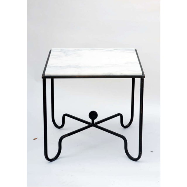 """Contemporary """"Entretoise"""" Wrought Iron and Marble Tables - a Pair For Sale - Image 4 of 7"""