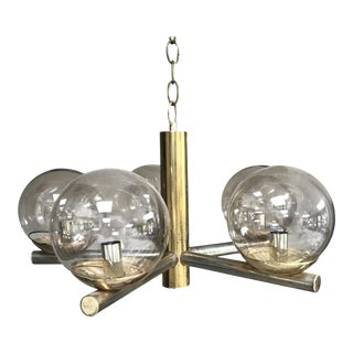 Mid-Century Modern Atomic 5-Armed Brass Chandelier Smoked Glass Globes For Sale