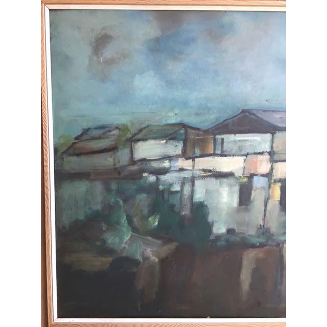 """Modern Swedish """"Building in Moonlight"""" Painting - Image 4 of 9"""
