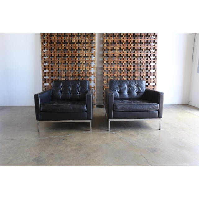 Mid Century Florence Knoll Leather Lounge Chairs - a Pair For Sale - Image 9 of 11