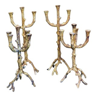 Rustic Faux Wood Candelabra - Set of 4