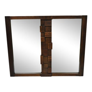 Vintage Lane Mid-Century Modern Geometric Block Brutalist Wall Dresser Double Mirror For Sale