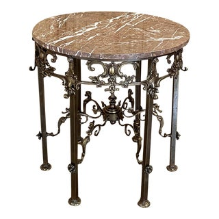 Antique French Louis XIV Bronze & Marble Round End Table For Sale