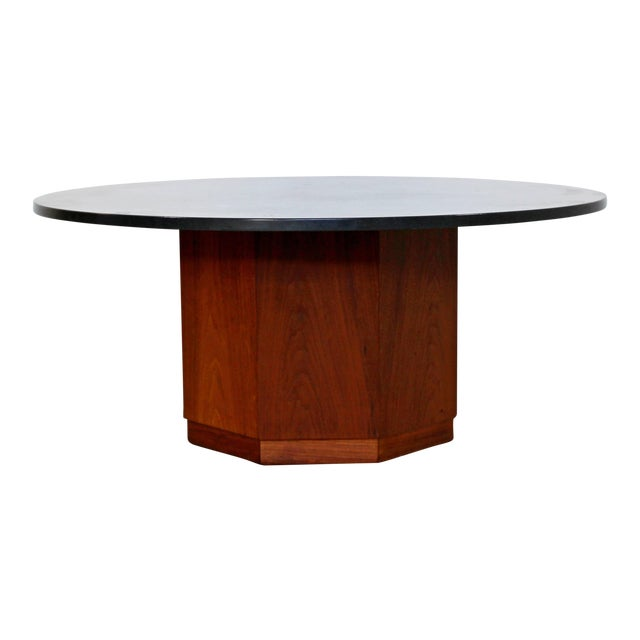 Image of Mid-Century Modern Fred Kemp Slate & Octagon Walnut Base Coffee Table