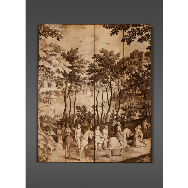 Four-Panel Screen in the Manner of Fornasetti For Sale - Image 9 of 9