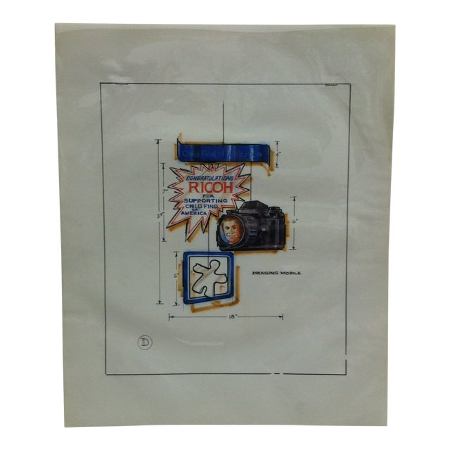 "1980s Displayco East ""Congratulations Ricoh - for Supporting Child Find of America"" Original Advertising Drawing For Sale"