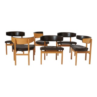 Borge Mogensen Oak and Leather Dining Chairs - Set of 6 For Sale