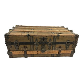 Vintage Industrial Wood Low Steamer Trunk For Sale