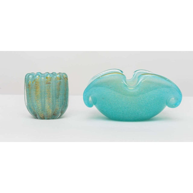 1970s Azure and Gold Murano Ashtray and Cigarette Holder - 2 Pc. Set For Sale - Image 5 of 9