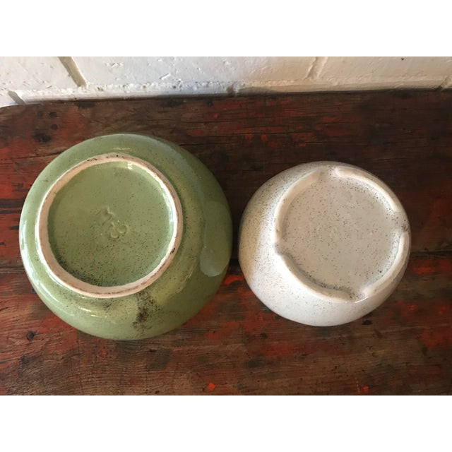 Ceramic Vintage Speckled Green & White Pottery Planters - a Pair For Sale - Image 7 of 11
