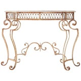 Image of French Wrought Iron Marble Top Console Table For Sale