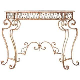 French Wrought Iron Marble Top Console Table For Sale