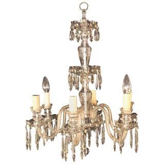 A Venetian Six Light Cut Crystal Chandelier Circa 1920 For Sale