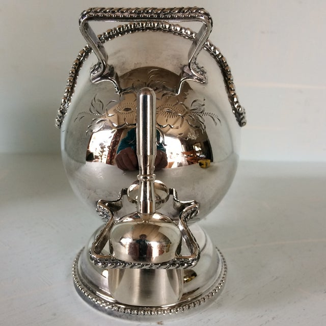 1970s Vintage English Hand Engraved Silver Plate Sugar Shuttle or Caddie With Scoop For Sale - Image 5 of 13