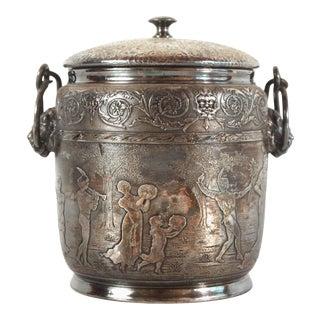 Antique Victorian Renaissance Revival Silverplate Biscuit Jar For Sale