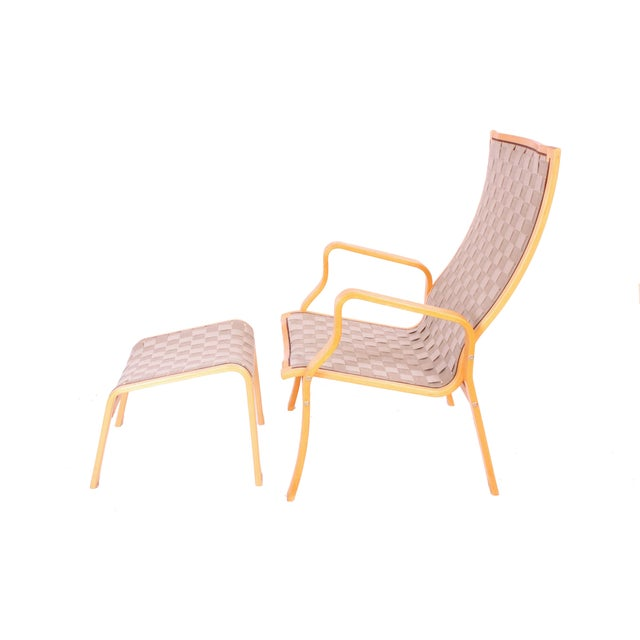 Bruno Mathsson Chair and Ottoman - Image 2 of 3