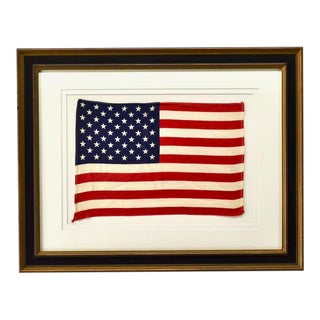 1959 Vintage Framed 50 Star Flag, Framed For Sale