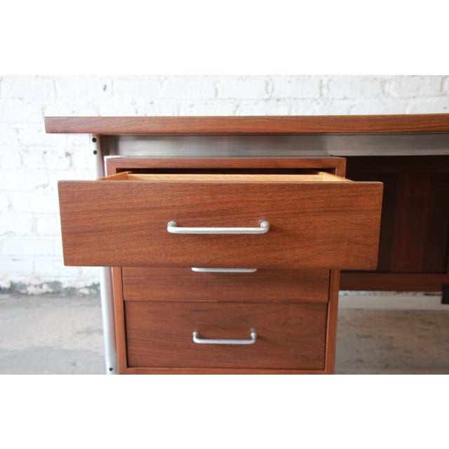 Brown Jens Risom Mid-Century Modern Executive Desk in Walnut, Cane, and Steel For Sale - Image 8 of 13