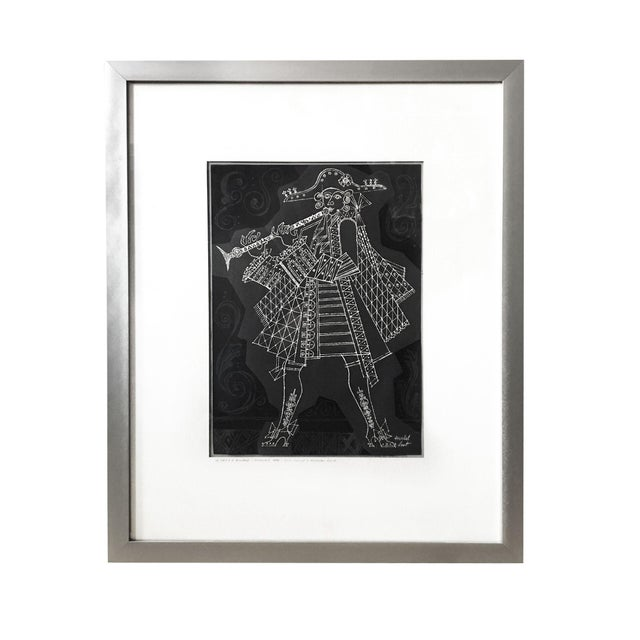 1960s Herschel Levit Minstrel Musician With Clarinet Lithographic Print For Sale - Image 9 of 9