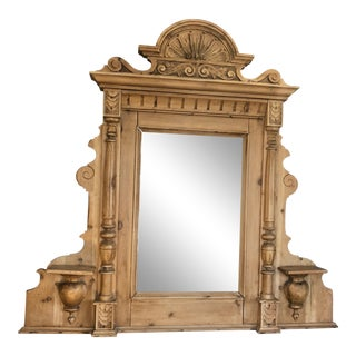Vintage Swedish Natural Carved Wood Mirror For Sale