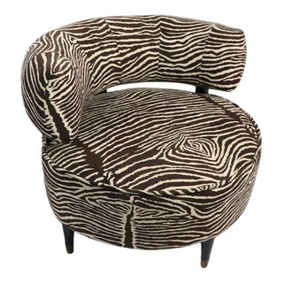 Mid Century Lounge Chair in Zebra Ultrasuede