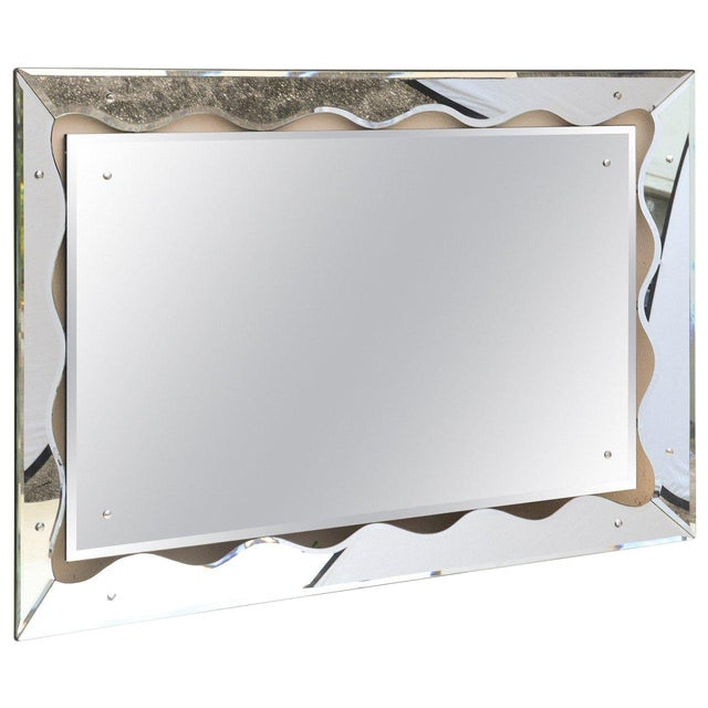 1950s Hollywood Regency Monumental Scalloped Horizontal Mirror For Sale