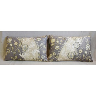 "Floral Linen & Velvet Feather/Down Pillows 26"" X 16"" - Pair Preview"