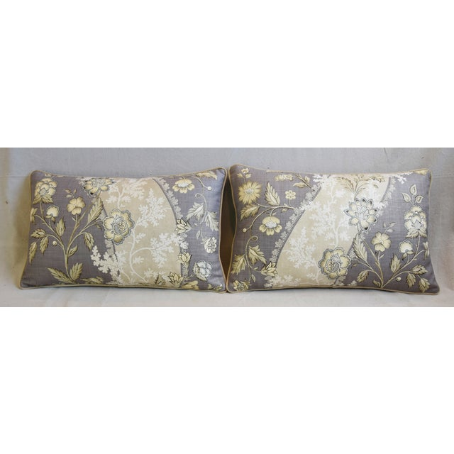 Pair of custom-tailored floral pillows in vintage linen fabric in a light lavender gray, taupe, and oyster white colorway....