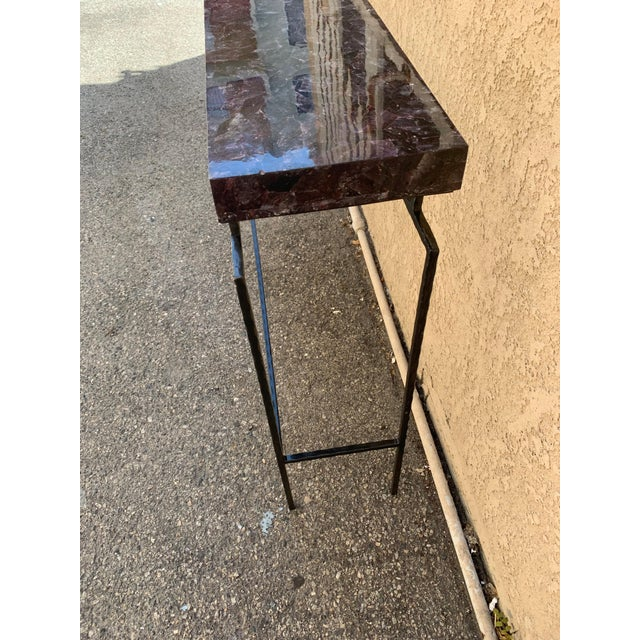 Contemporary Contemporary Amethyst Penshell and Iron Console Table For Sale - Image 3 of 6