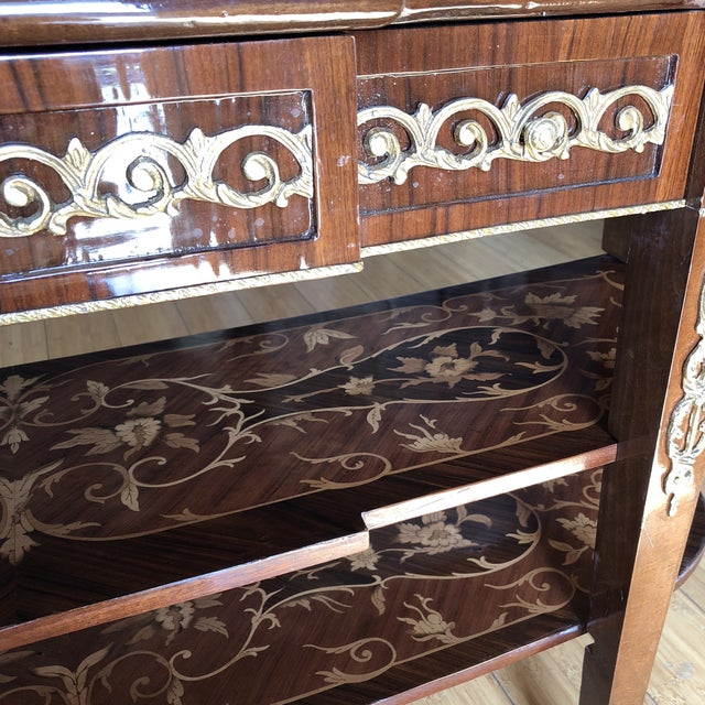 Wooden Inlay Marquetry Petite Console Table With Brass Feet** For Sale - Image 10 of 13