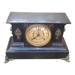 1882 Ansonia Victorian Style Cast Iron Mantle Clock For Sale