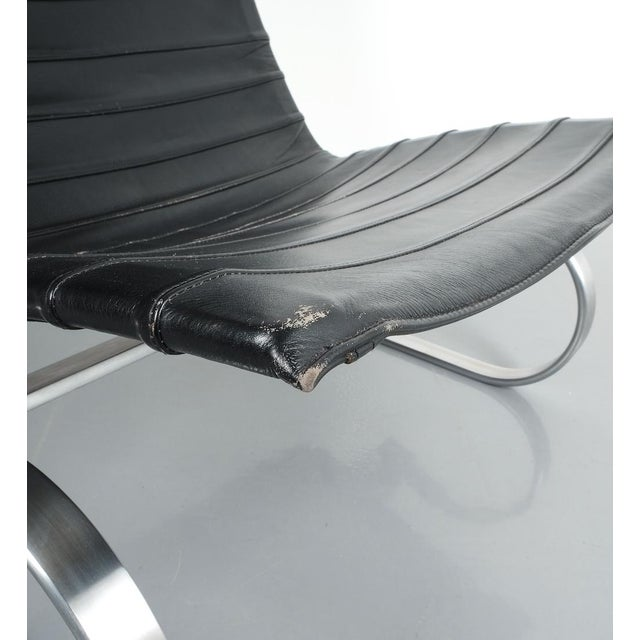 Poul Kjærholm Early Fritz Hansen Pk20 Lounge Chair in Black Leather, 1987 For Sale - Image 6 of 12