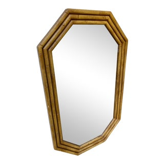 Vintage Large Octagonal Faux Bamboo Mirror For Sale