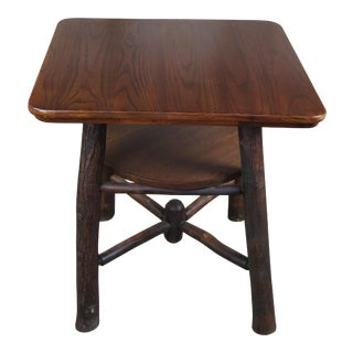 Rustic Hickory Furniture Company Oak Side Table For Sale